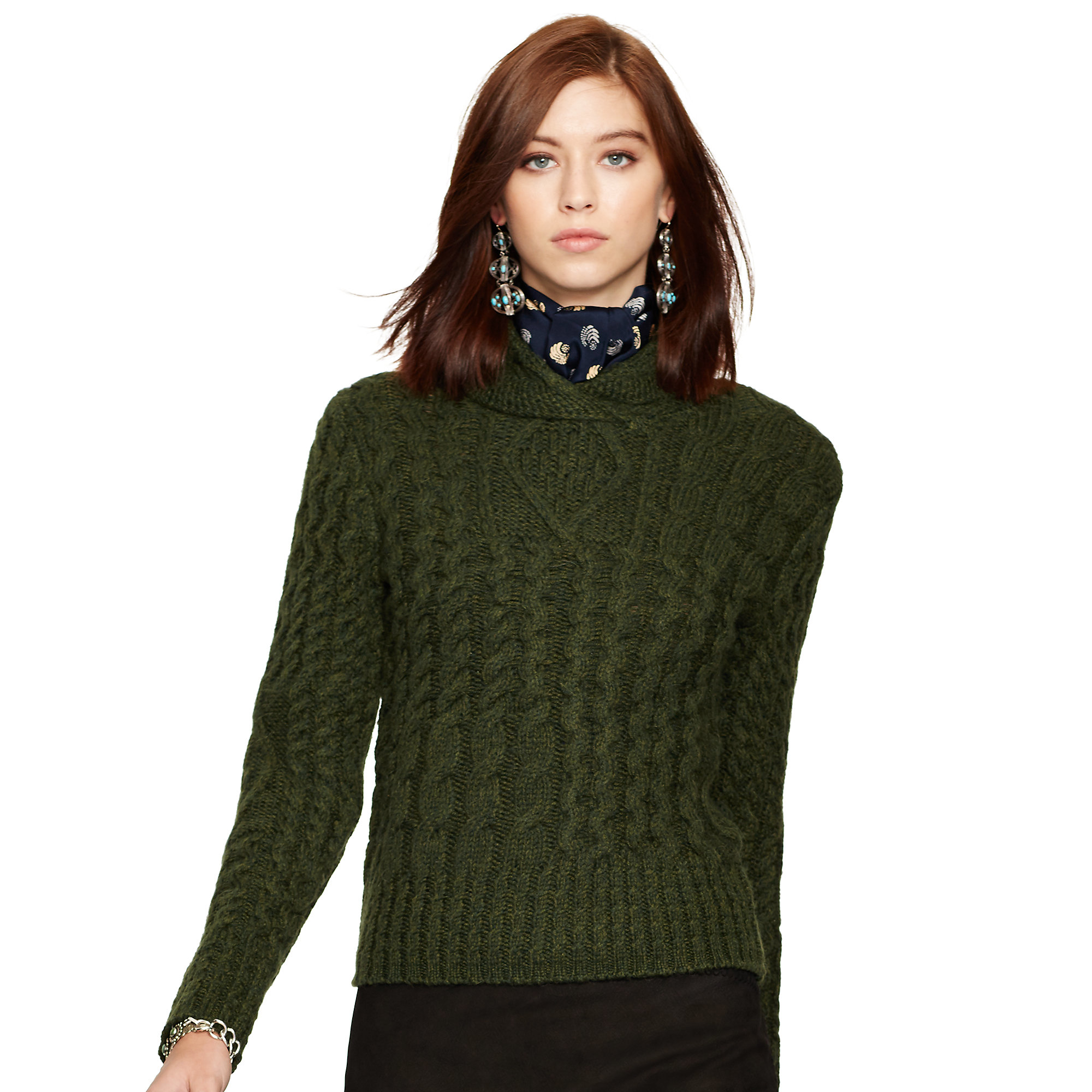 52941a656b6 Lyst - Polo Ralph Lauren Wool-alpaca Cabled Sweater in Green