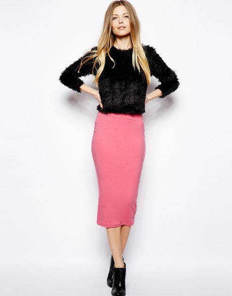 asos midi pencil skirt in jersey in pink palepink lyst