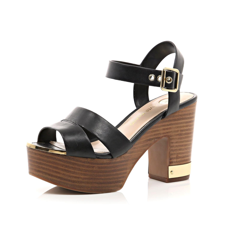 deeb572c6795 River Island Black Wood Effect Heel Platform Sandals in Black - Lyst