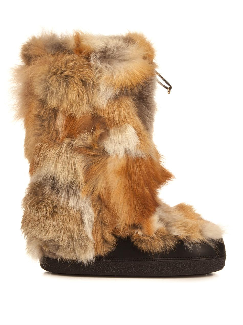 Chlo 233 Fox Fur Boots In Natural Lyst
