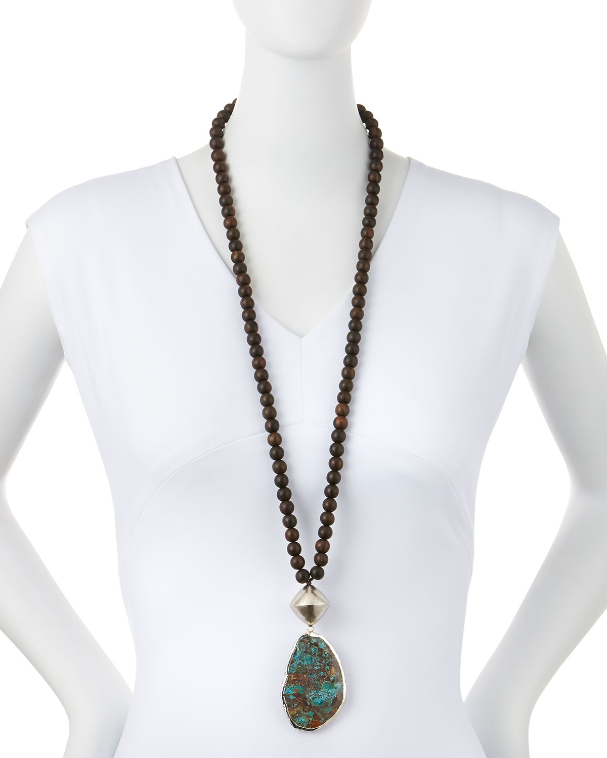 Nest Ebony Wood Long Beaded Necklace oz4R09g
