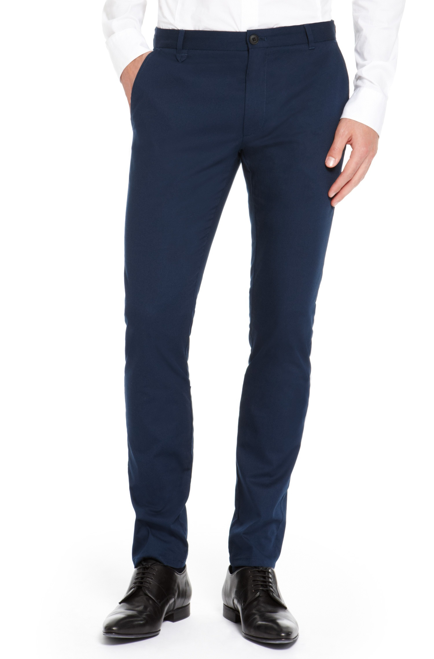 db389a5a65 HUGO Heldor Extra Slim Fit Stretch Cotton Pants in Blue for Men - Lyst