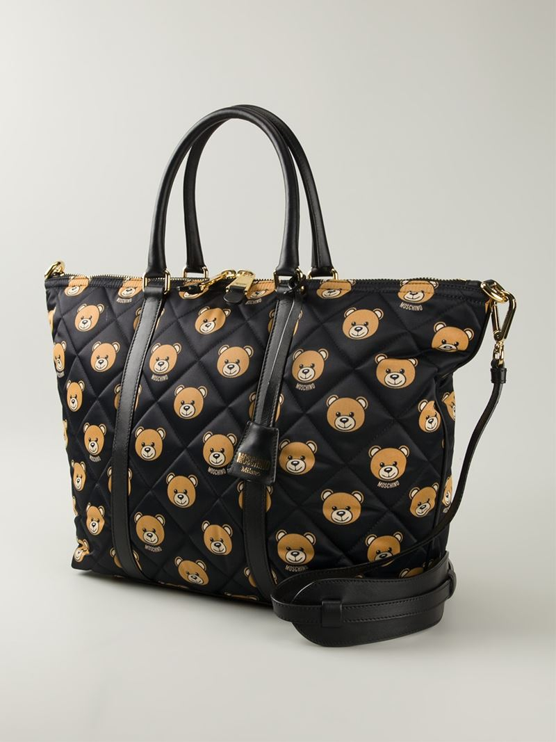 Borse Bear Bag : Moschino letters tote in black lyst