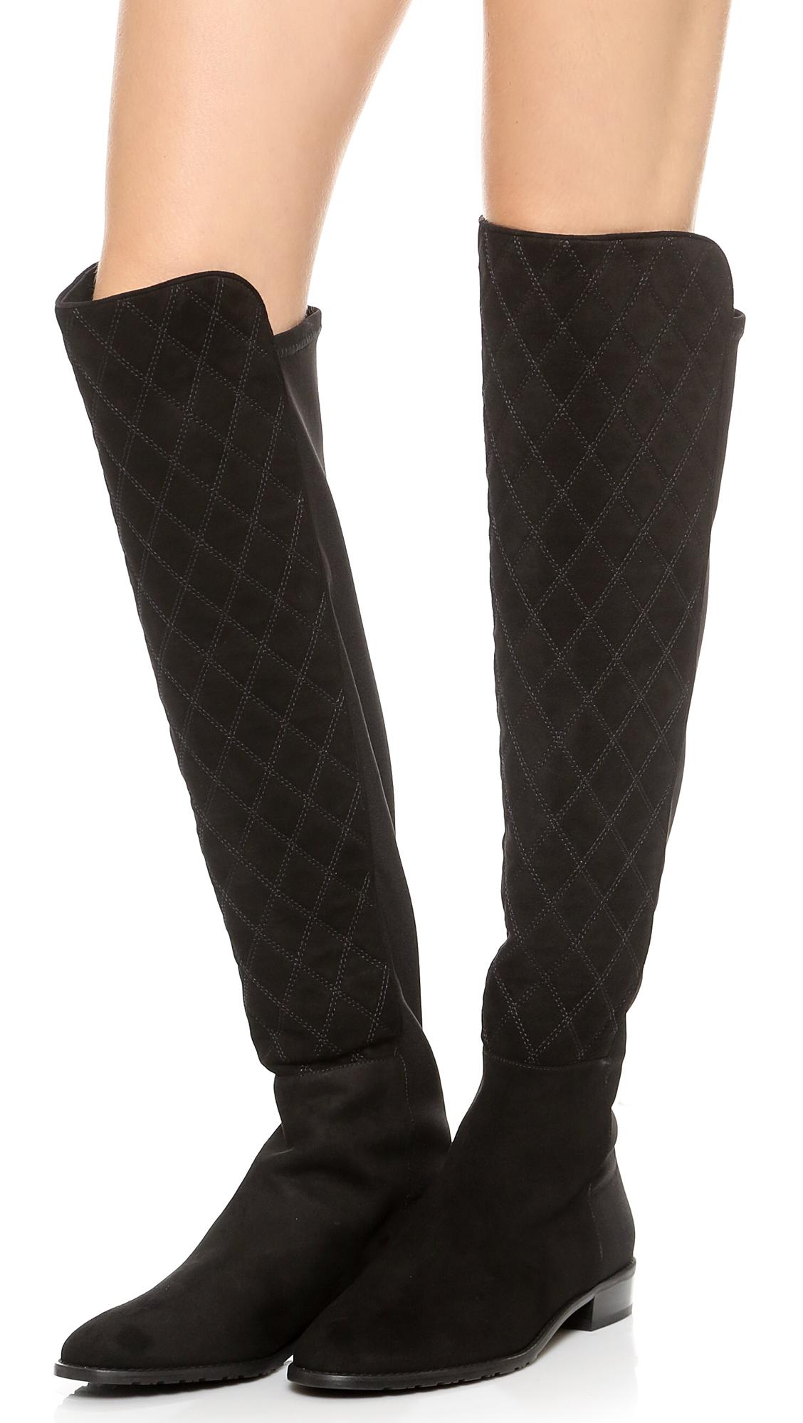 Stuart weitzman Quilt Stretch Suede Boots Black in Black | Lyst : stuart weitzman quilted boots - Adamdwight.com