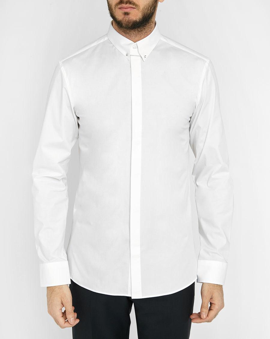 Hugo white poplin shirt with tab collar and pin in white for White shirt with collar pin