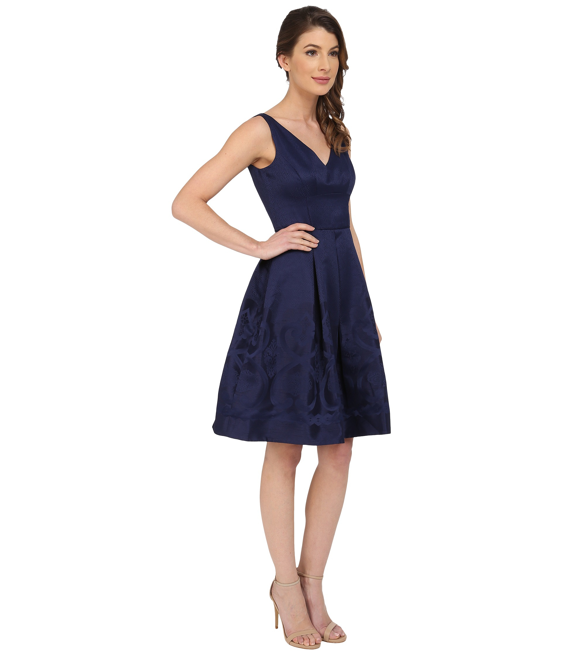 Lyst Maggy London Scroll Border Jacquard Fit And Flare
