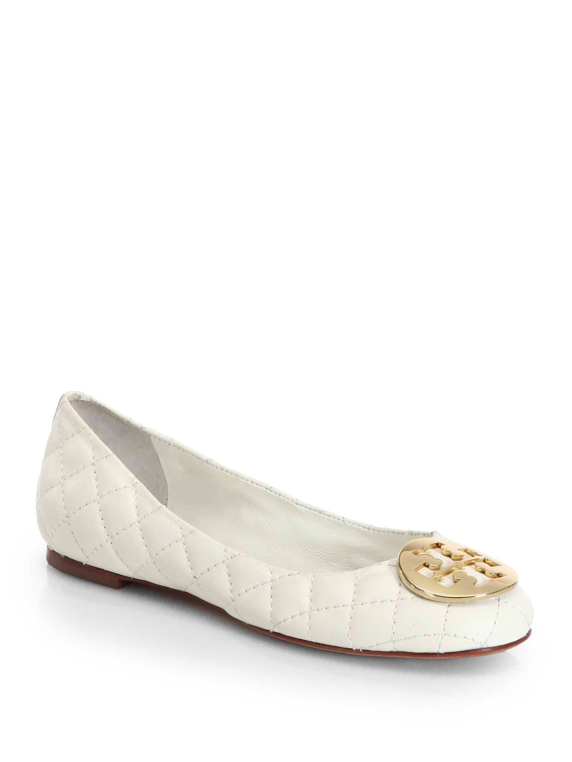 fc11c0da0d1a Lyst - Tory Burch Quinn Quilted Leather Ballet Flats in White