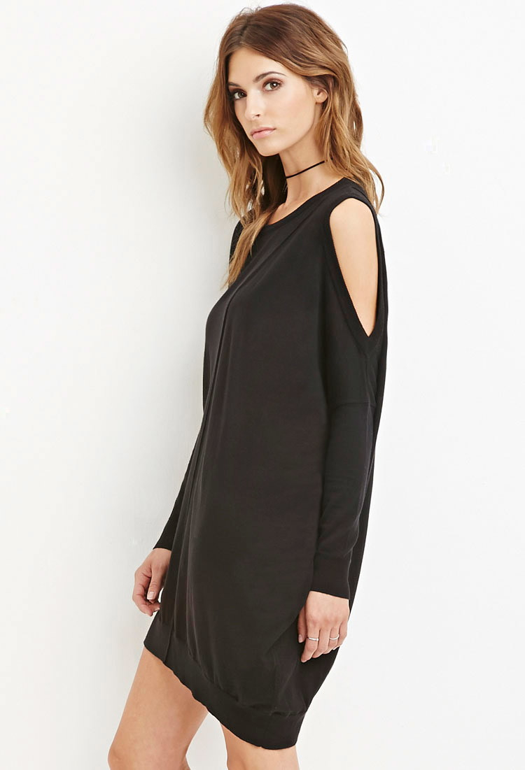 Forever 21 Contemporary Open Shoulder Dress In Black Lyst