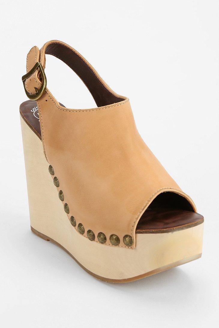 b5c65a257693 Lyst - Jeffrey Campbell Snick Peeptoe Platform Wedge Sandal in Natural