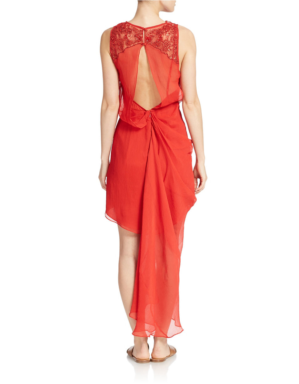 Lyst free people embroidered draped dress in red