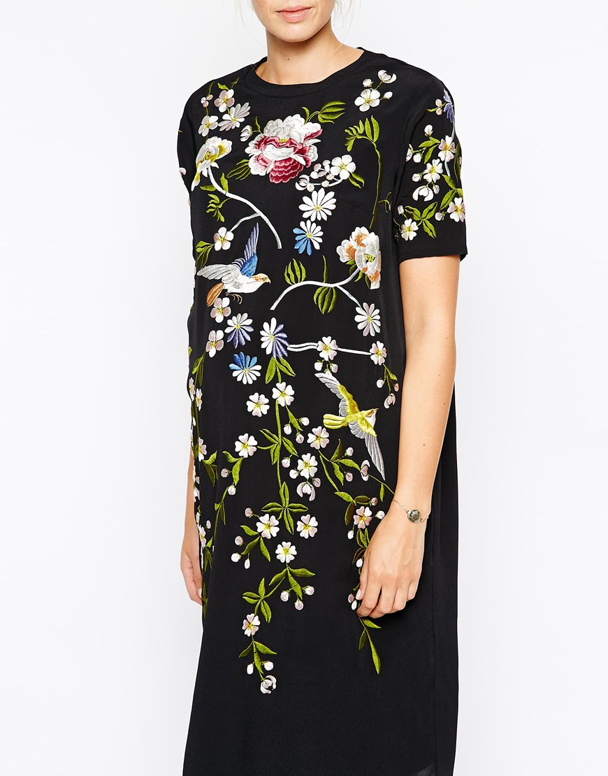 Lyst Asos Shift Dress With Bird And Floral Embroidery In