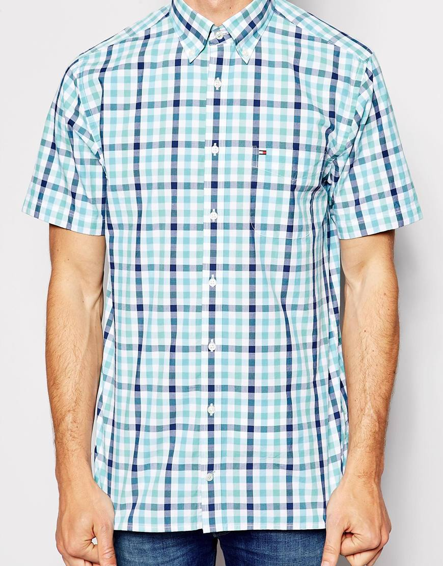 d691580f Tommy Hilfiger Shirt With Check Short Sleeves Regular Fit in Green ...