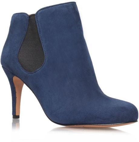 nine west rallify mid heel boots in blue navy lyst