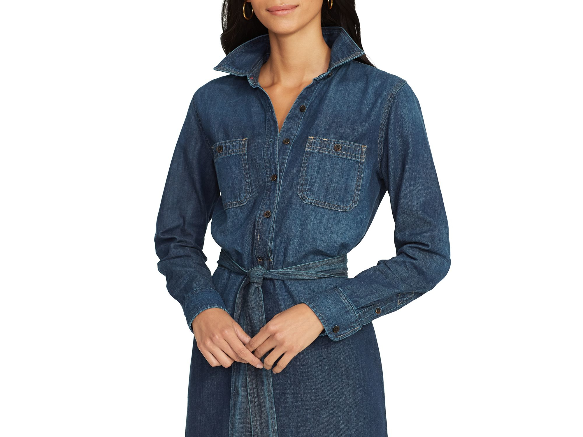Lyst Ralph Lauren Lauren Denim Shirt Dress In Blue