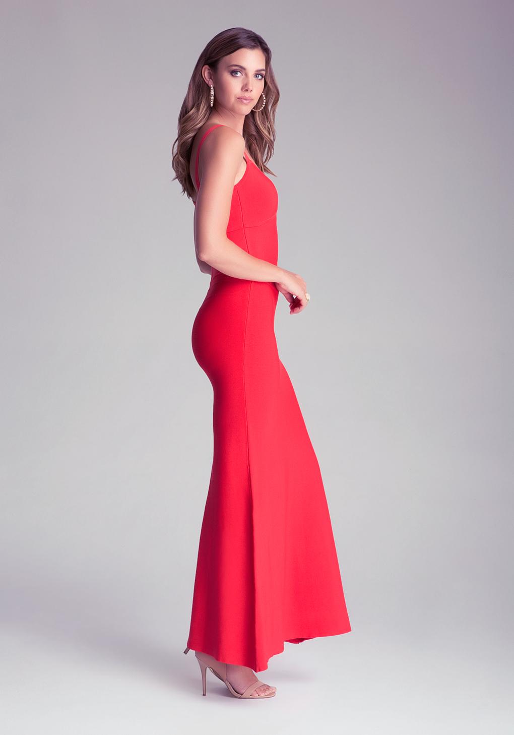 Lyst - Bebe Bodycon Maxi Dress in Red 32de25804