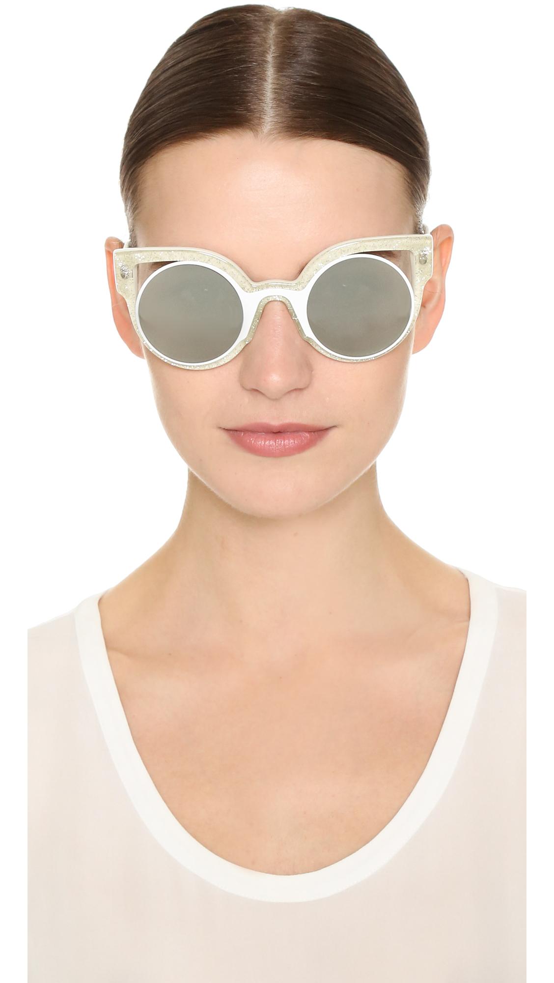 cae4647fb1a Lyst - Fendi Round Cutout Sunglasses in White