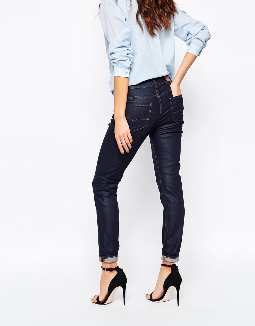 boss orange skinny jeans in navy in blue lyst. Black Bedroom Furniture Sets. Home Design Ideas