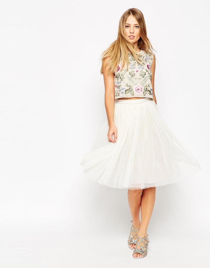 7a3e708615 Needle & Thread Tulle Ballet Midi Skirt in White - Lyst