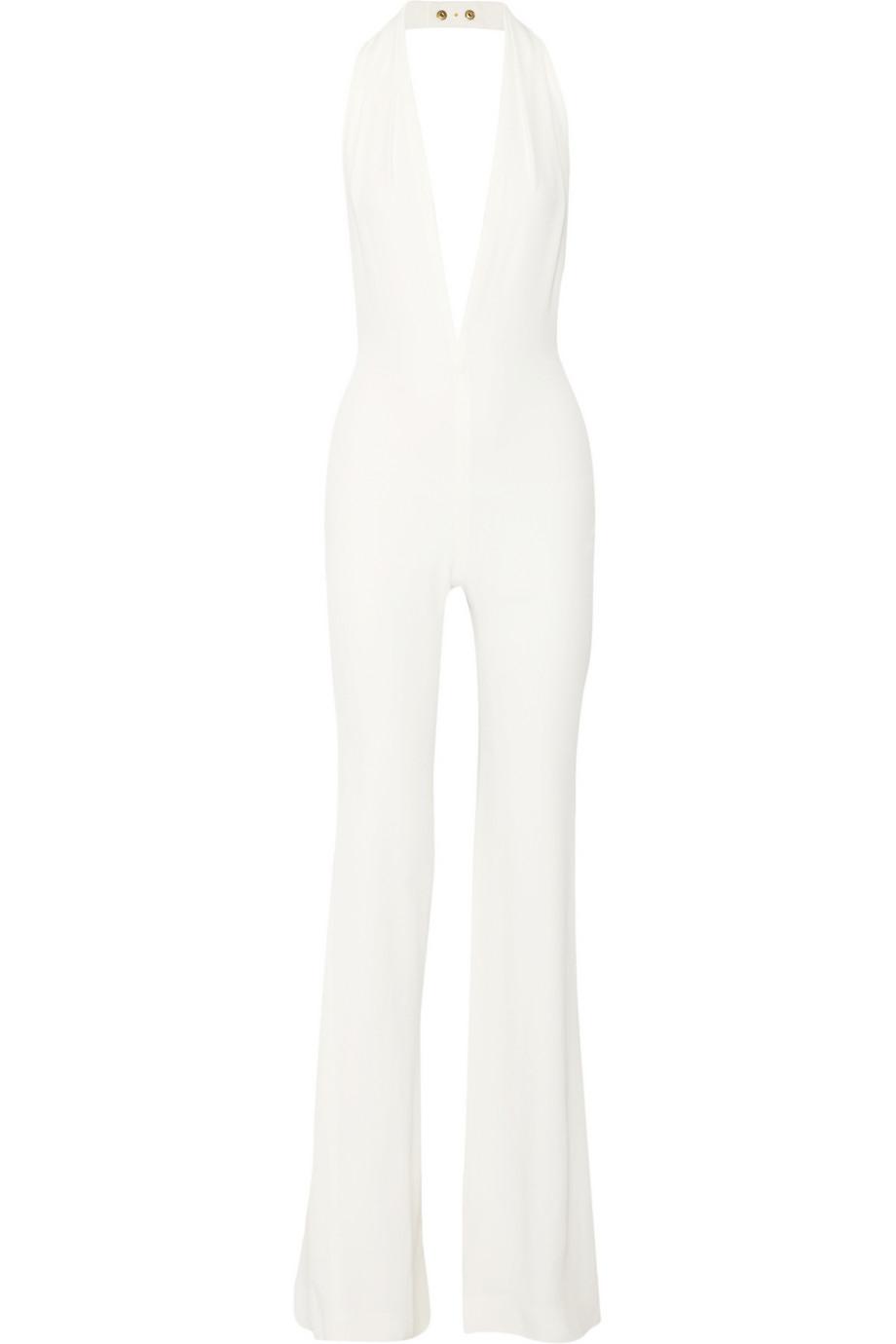d42ddb0d40c Lyst - Balmain Halterneck Crepe Jumpsuit in White