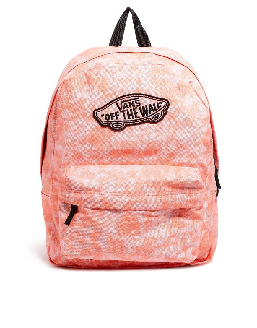 Vans Realm Backpack in Coral with Glitter Finish in Pink