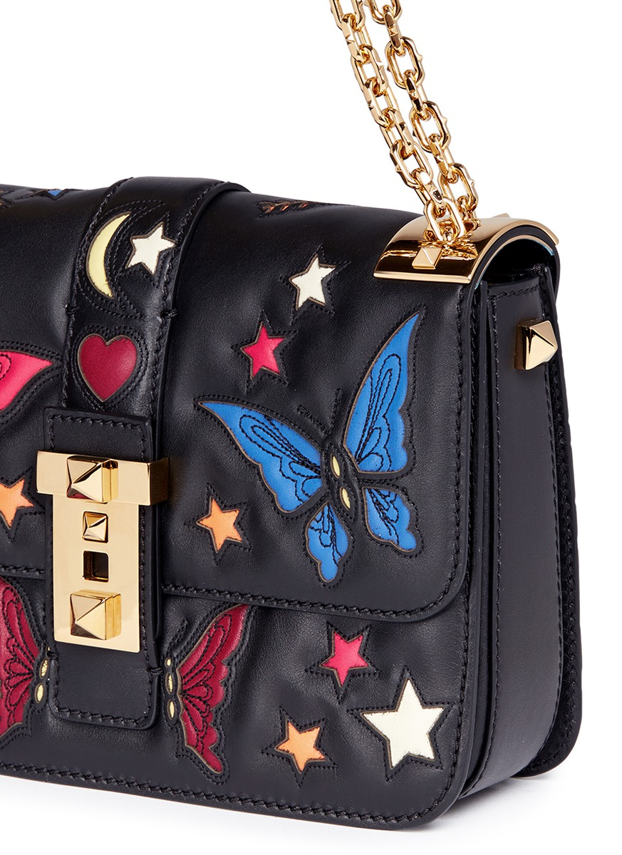 Lyst Valentino B Rockstud Butterfly Appliqu 233 Leather