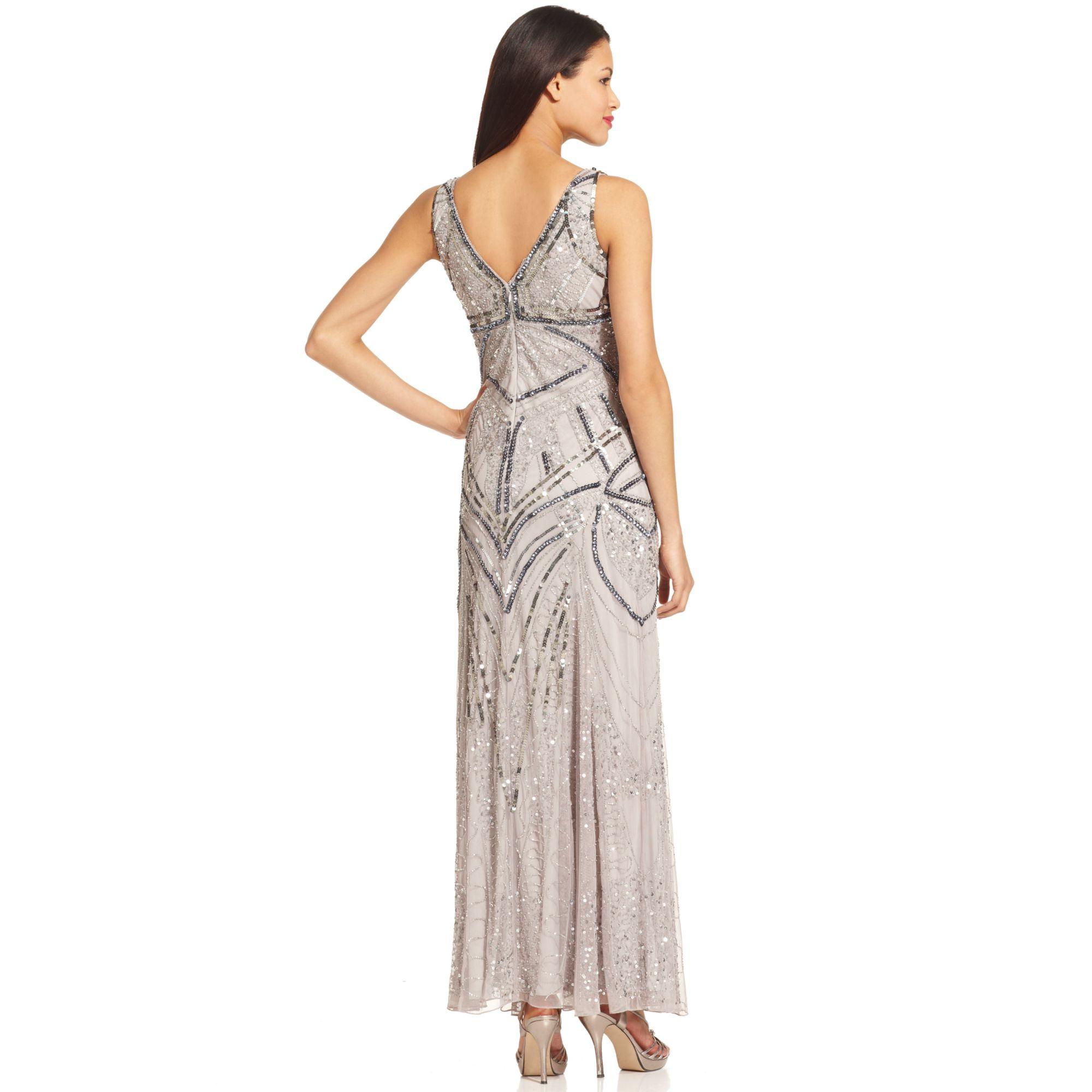 Lyst Patra Sleeveless Beaded Vneck Gown In Metallic