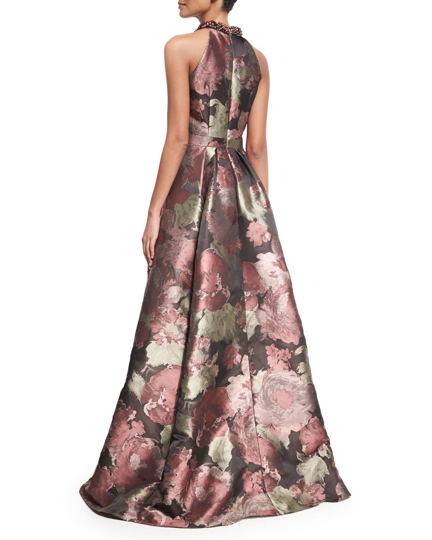 84c64bdce6af Carmen Marc Valvo Sleeveless Crisscross Beaded-neck Floral Ball Gown ...