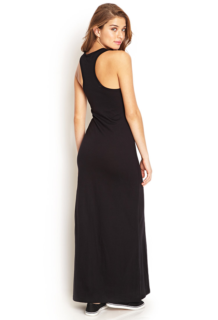 00a5aa548a5 Lyst Forever 21 Solid Racerback Maxi Dress In Black