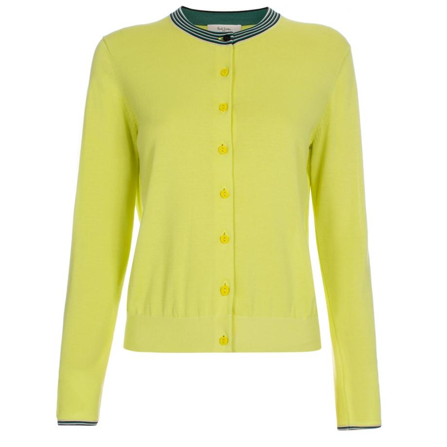 Paul smith Women's Chartreuse Cotton Cardigan With Textured Trims ...