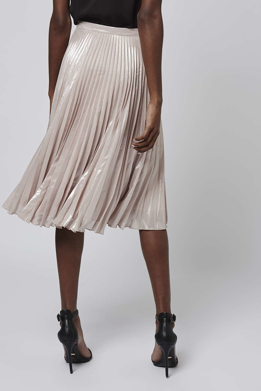 topshop pleated metalic midi skirt in pink lyst