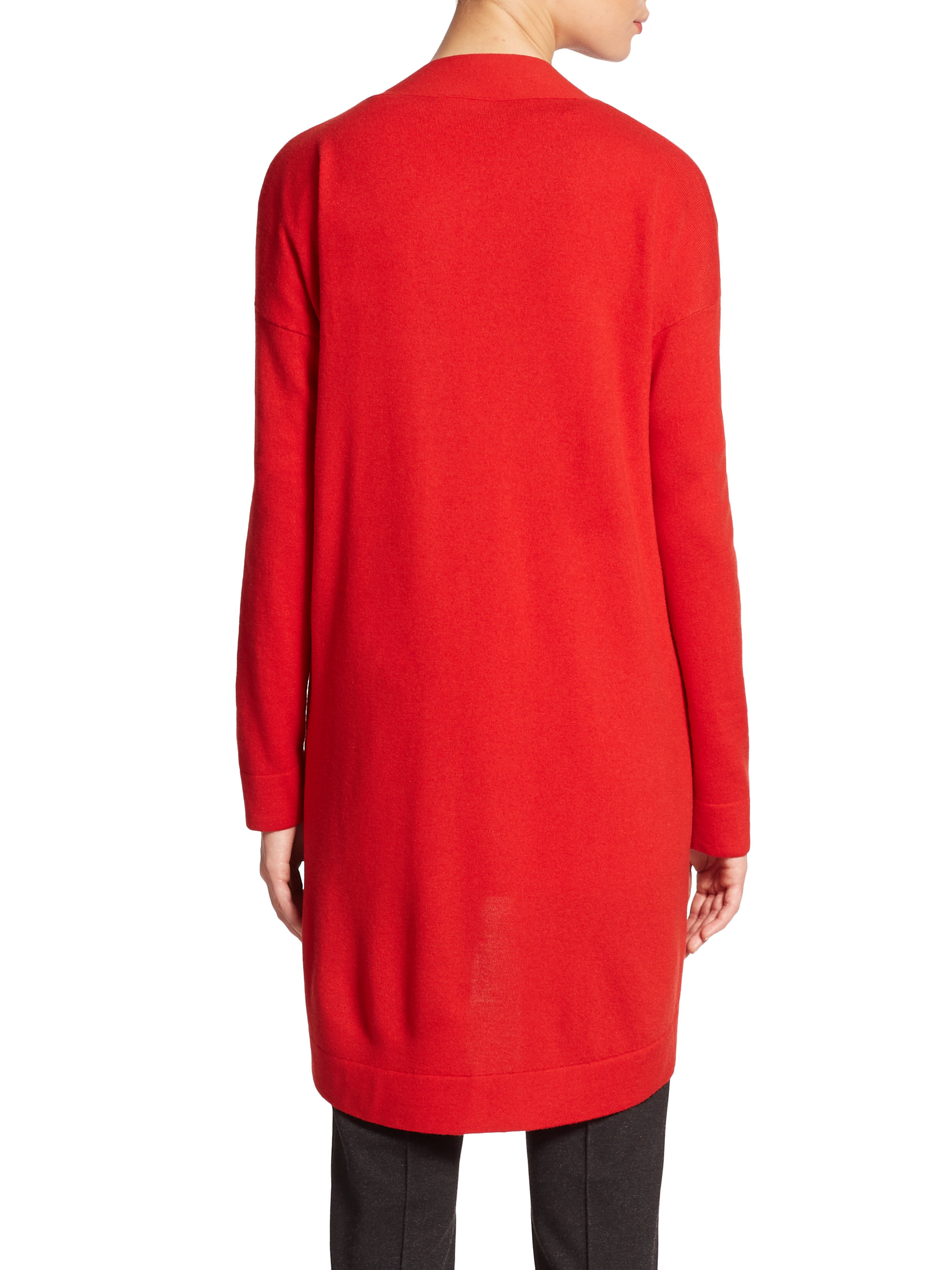 Akris punto Long Wool Open-front Cardigan in Red | Lyst