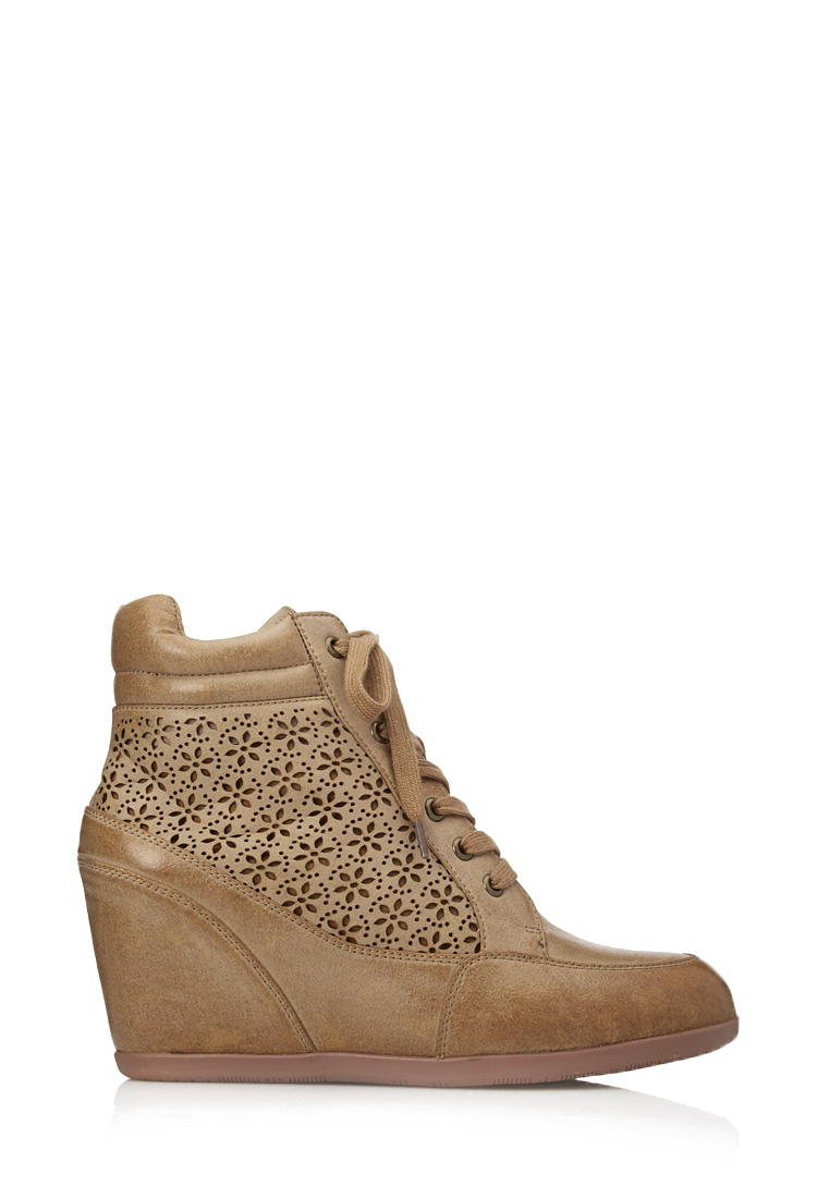 Forever 21 Fine Floral Wedge Sneakers in Brown - Lyst
