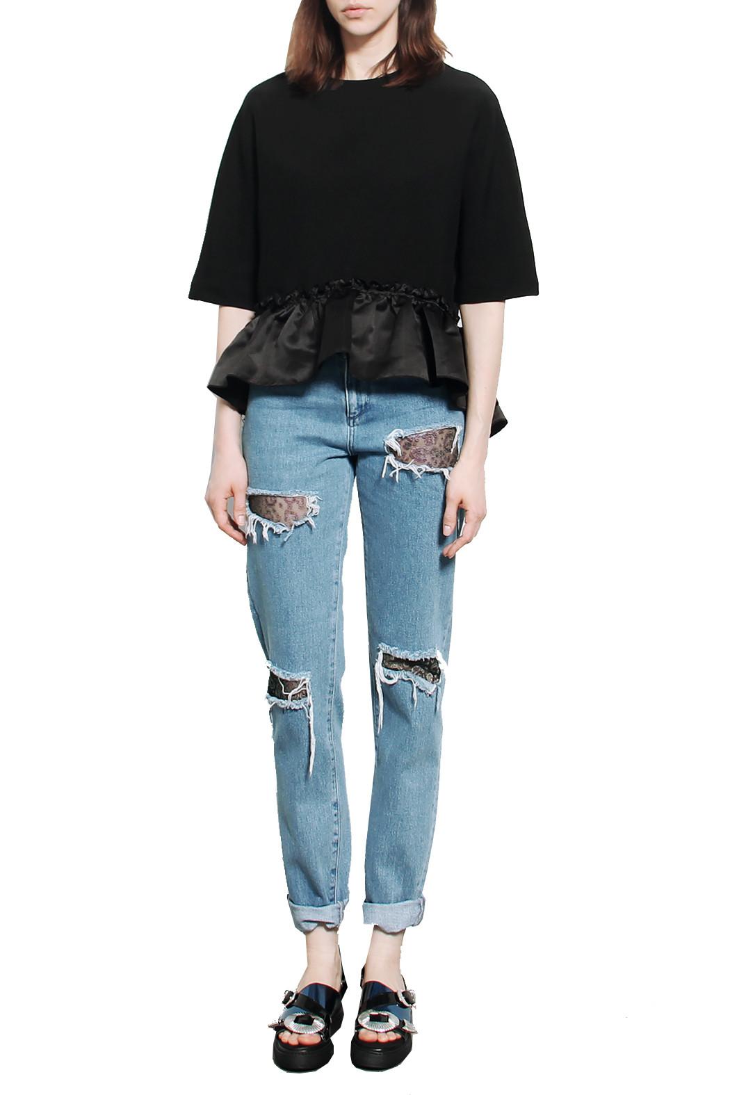House Of Holland 2015 Resort Lace Denim Jeans In Blue Denim Lyst