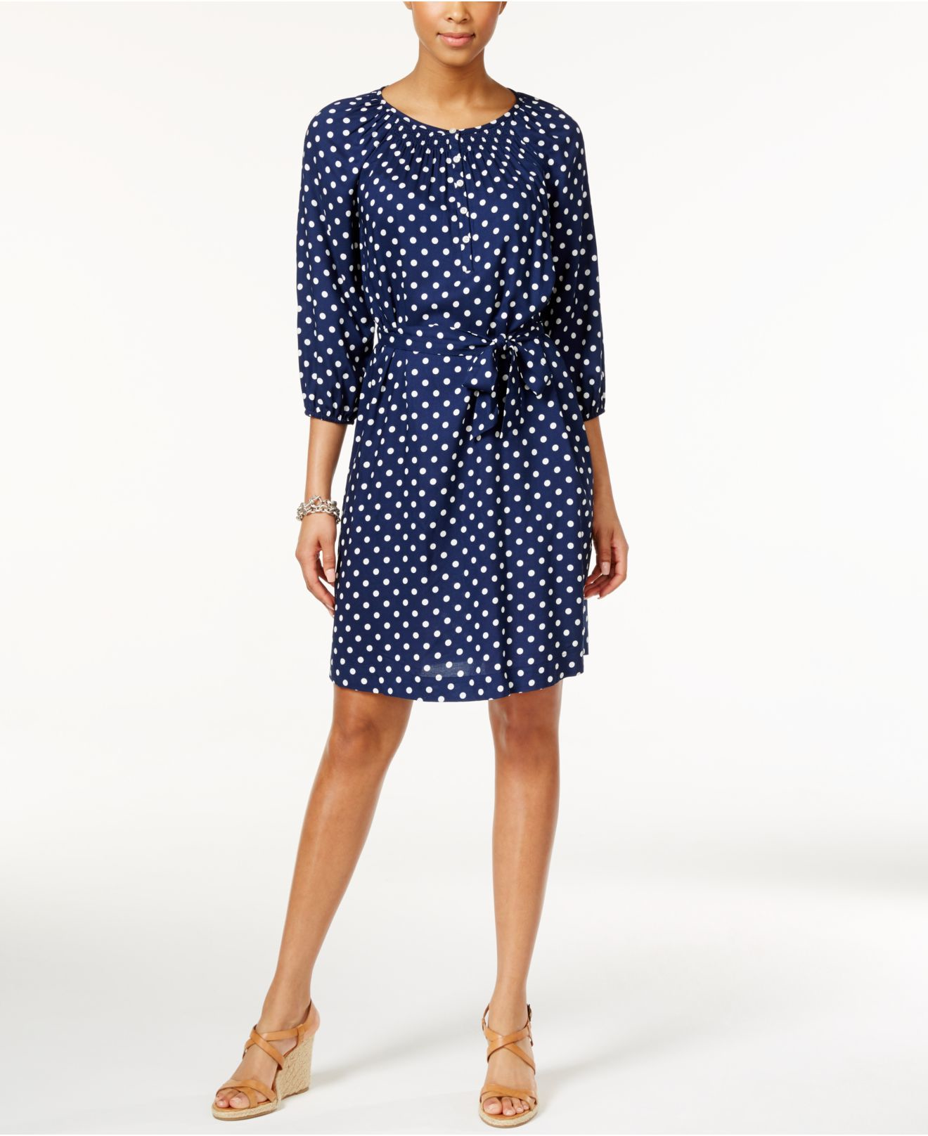 Lyst American Living Polka Dot Sash Tie Peasant Dress In Blue