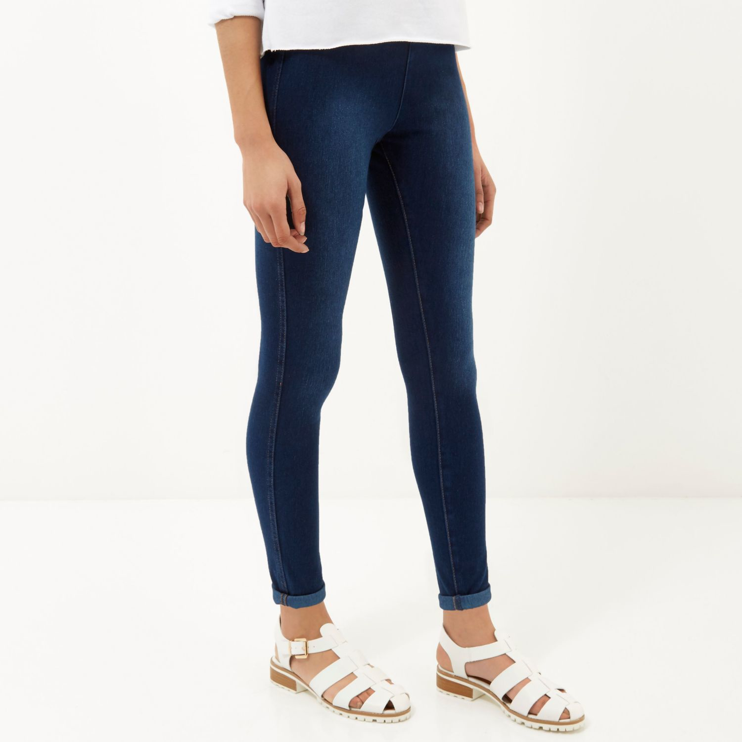 Lyst - River Island Mid Wash High Waisted Denim Leggings ...