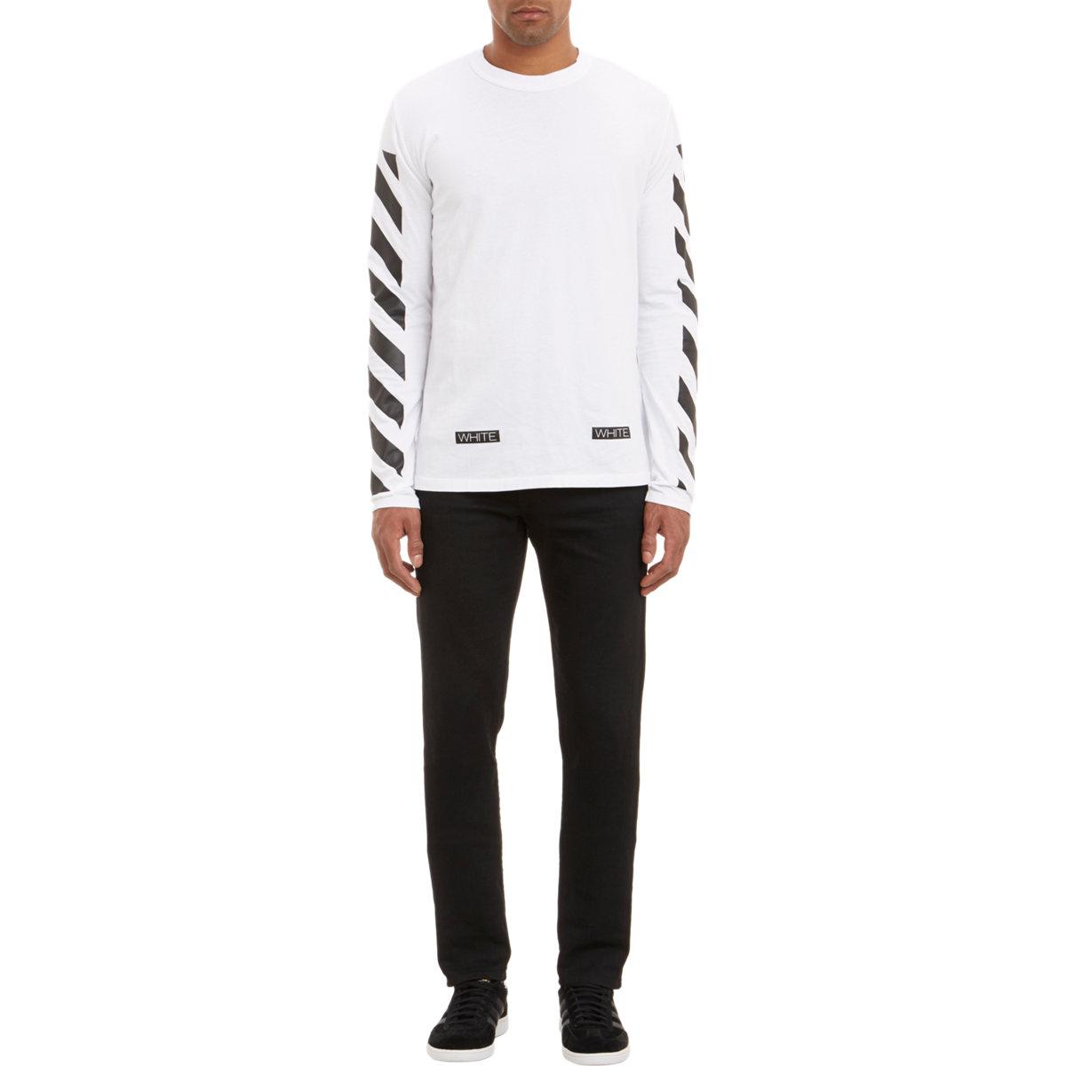 afae93f69 Off-White c/o Virgil Abloh Diagonal-Stripe Long-Sleeve T-Shirt in ...