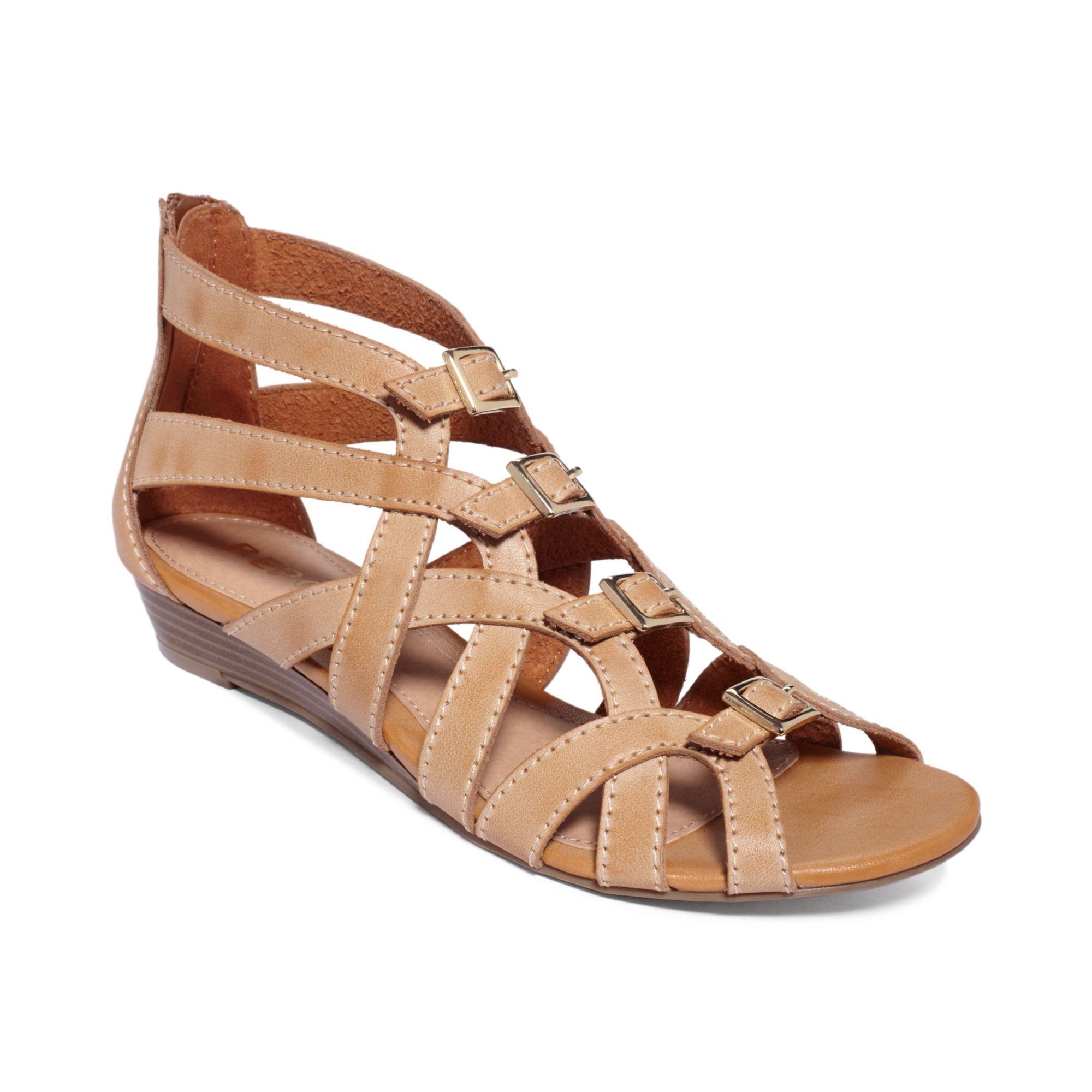 Report Annalise Buckle Wedge Sandals In Brown Tan Lyst