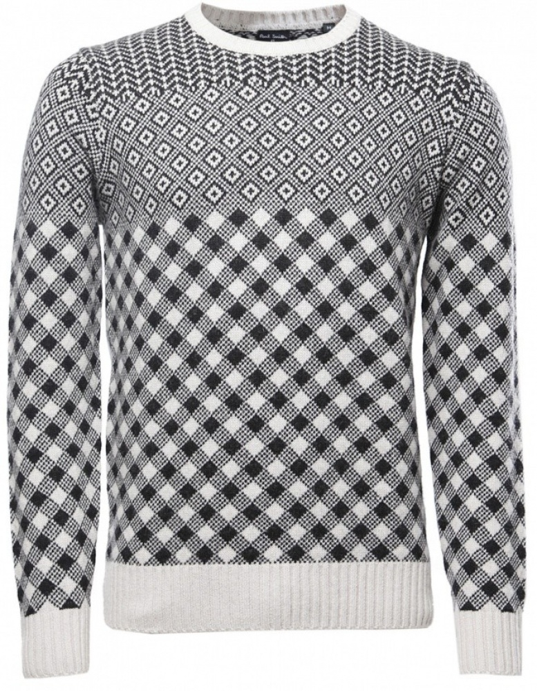 Ps by paul smith Mens Cashmere Blend Patterned Sweater in White ...