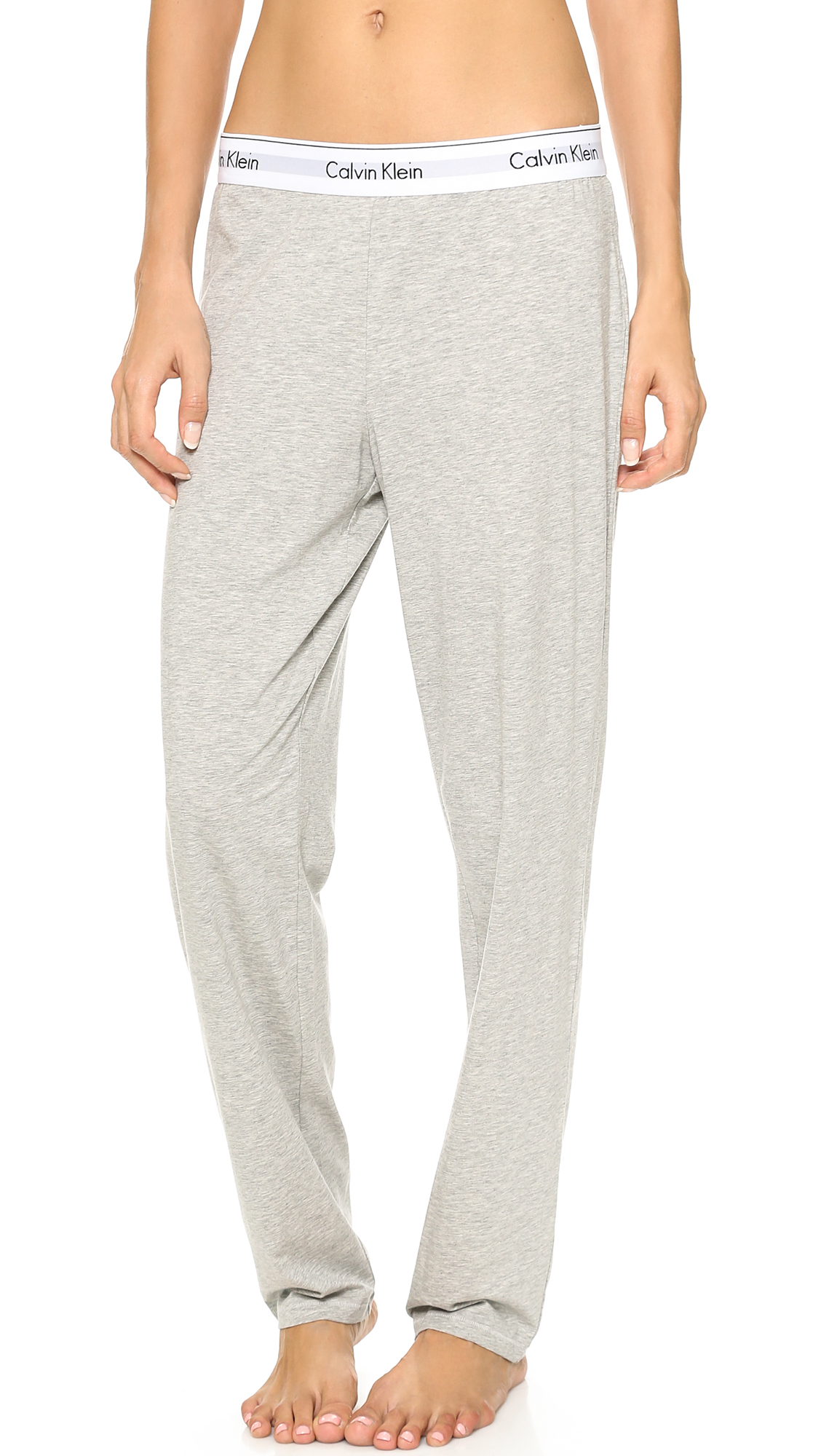 calvin klein modern cotton wide pants grey heather in. Black Bedroom Furniture Sets. Home Design Ideas