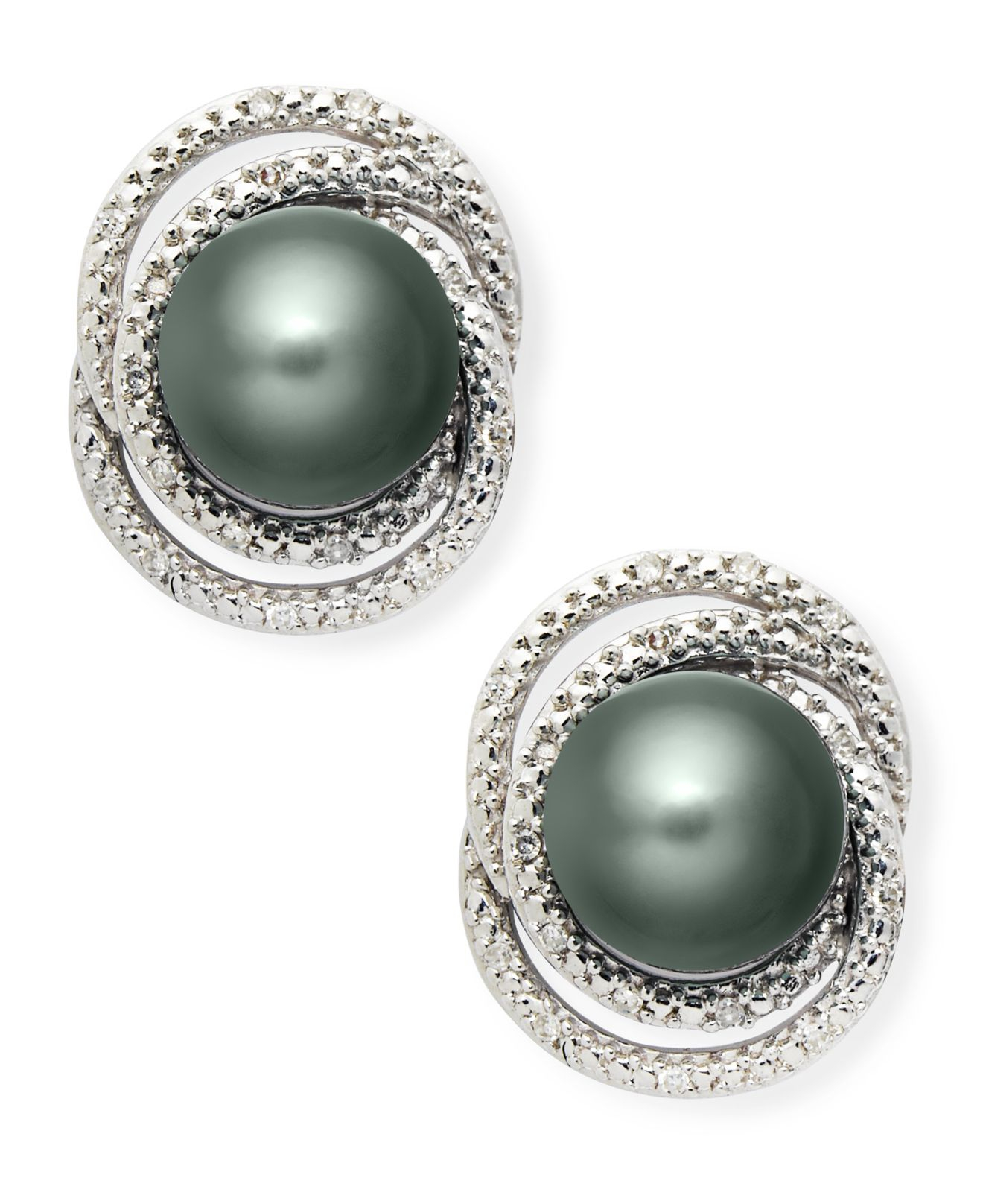 Macy S Sterling Silver Earrings Cultured Tahitian Pearl And