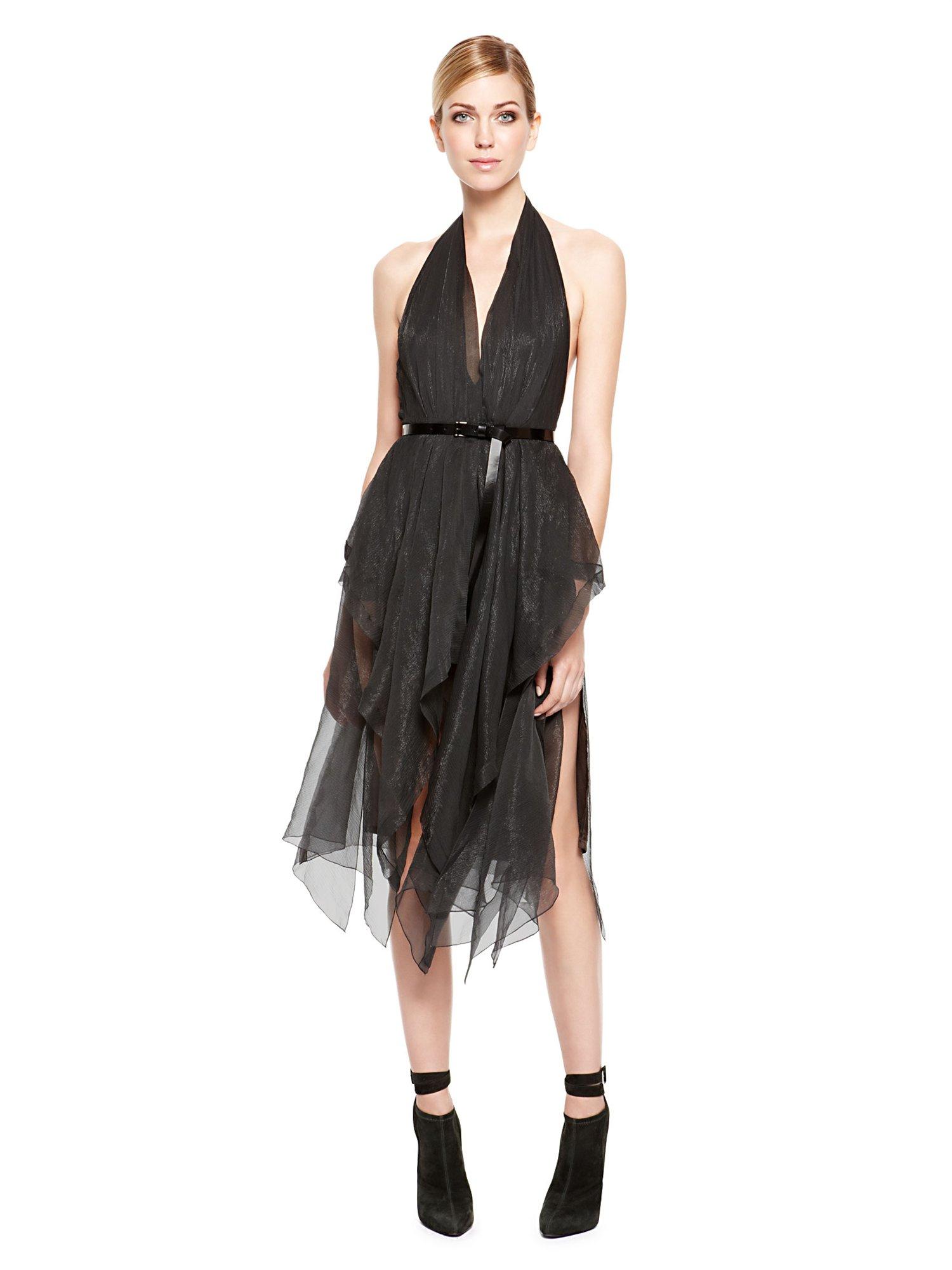 Donna Karan New York Belted Halter Handkerchief Dress In