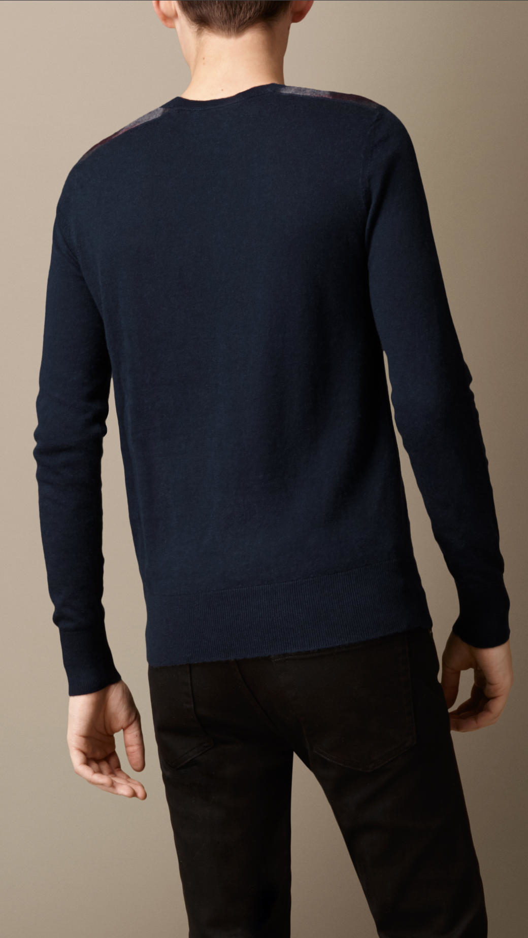 Burberry Check Detail Cotton Cashmere Sweater Navy in Blue for Men ...