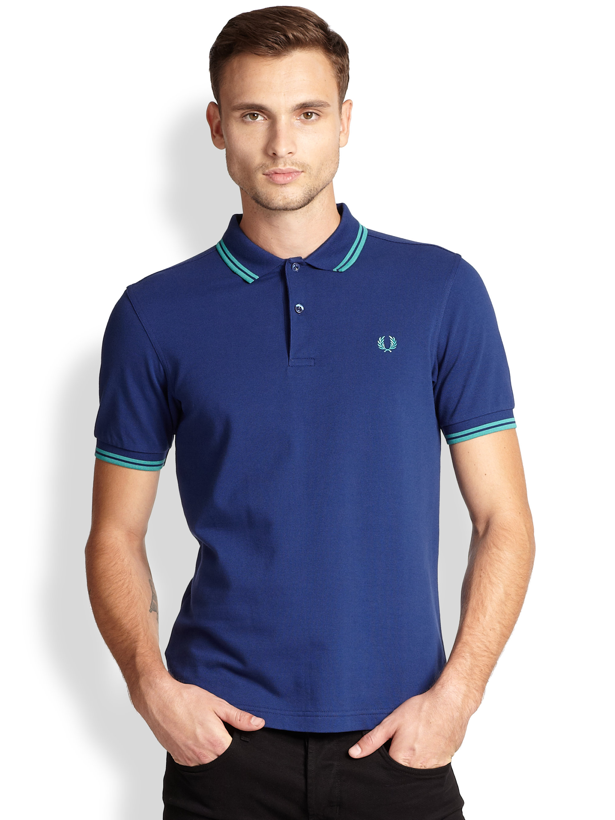 fred perry slim fit polo in blue for men lyst. Black Bedroom Furniture Sets. Home Design Ideas