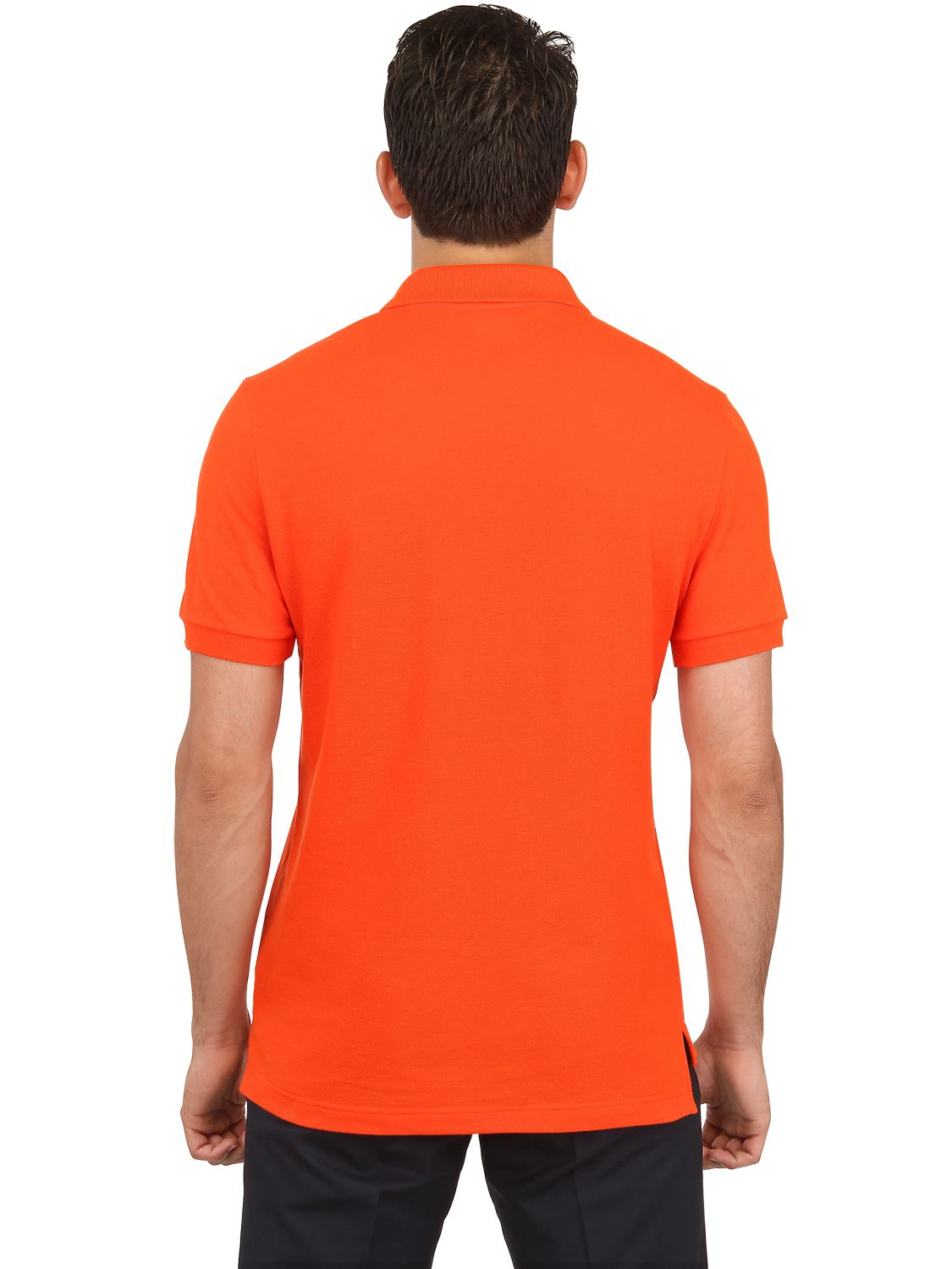lacoste petit piqu polo shirt in orange for men lyst. Black Bedroom Furniture Sets. Home Design Ideas