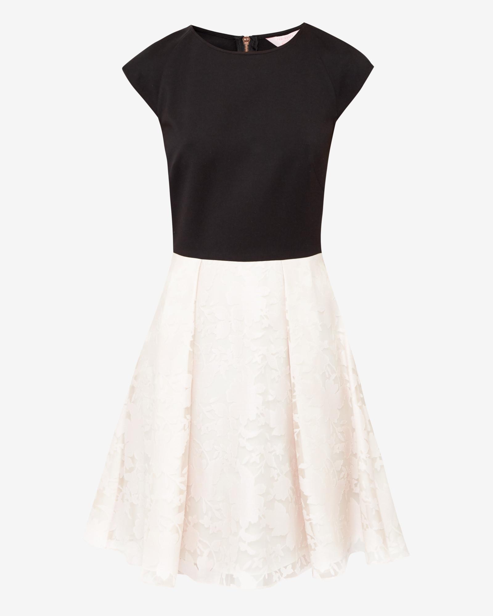 1af1953626 Ted Baker Burnout Skater Dress in Black - Lyst