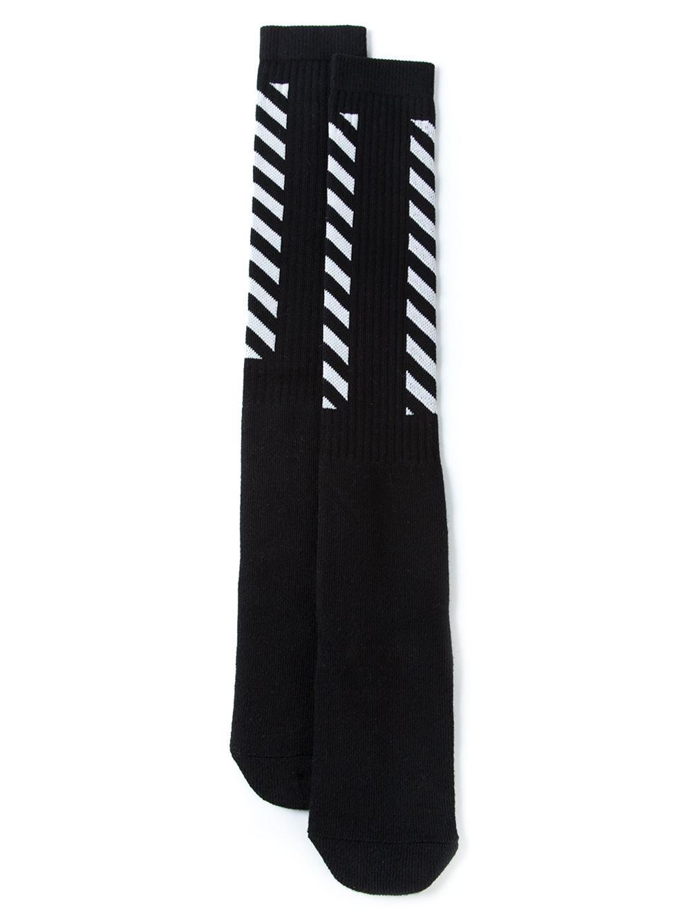 abce09573fe5 Lyst - Off-White c o Virgil Abloh Diagonal Stripe Socks in Black for Men