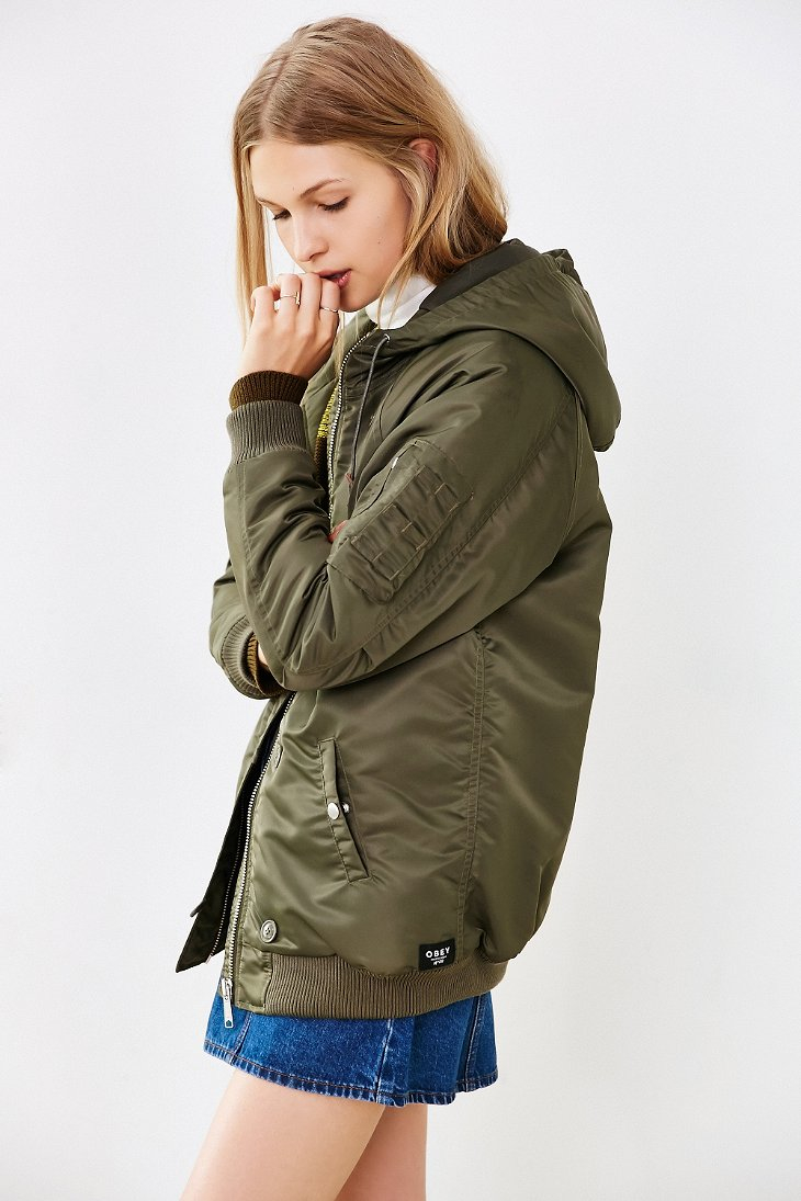 Obey Ace Hooded Parka Jacket in Green | Lyst