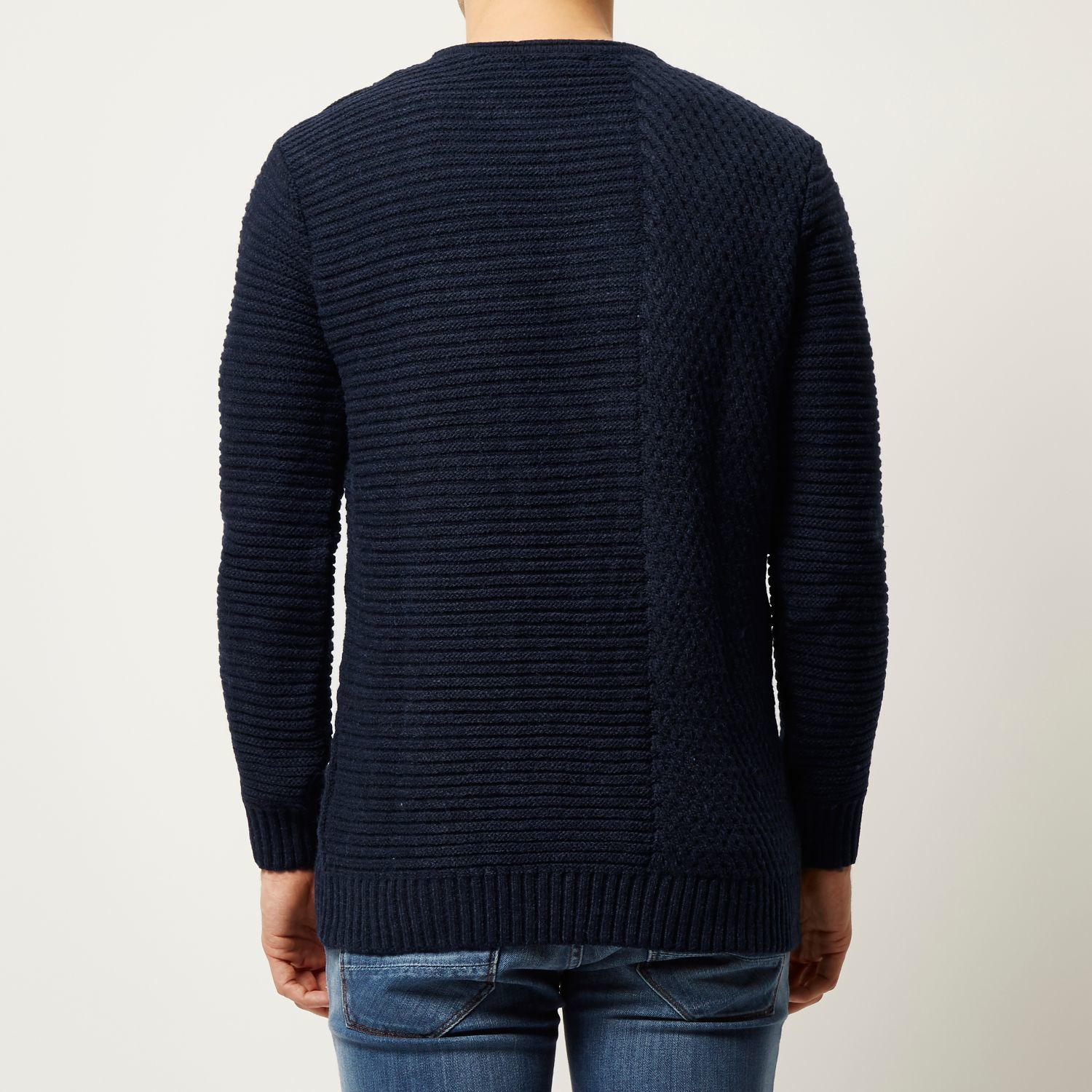 1e668667a110 River Island Navy Cable Knit Jumper in Blue for Men - Lyst