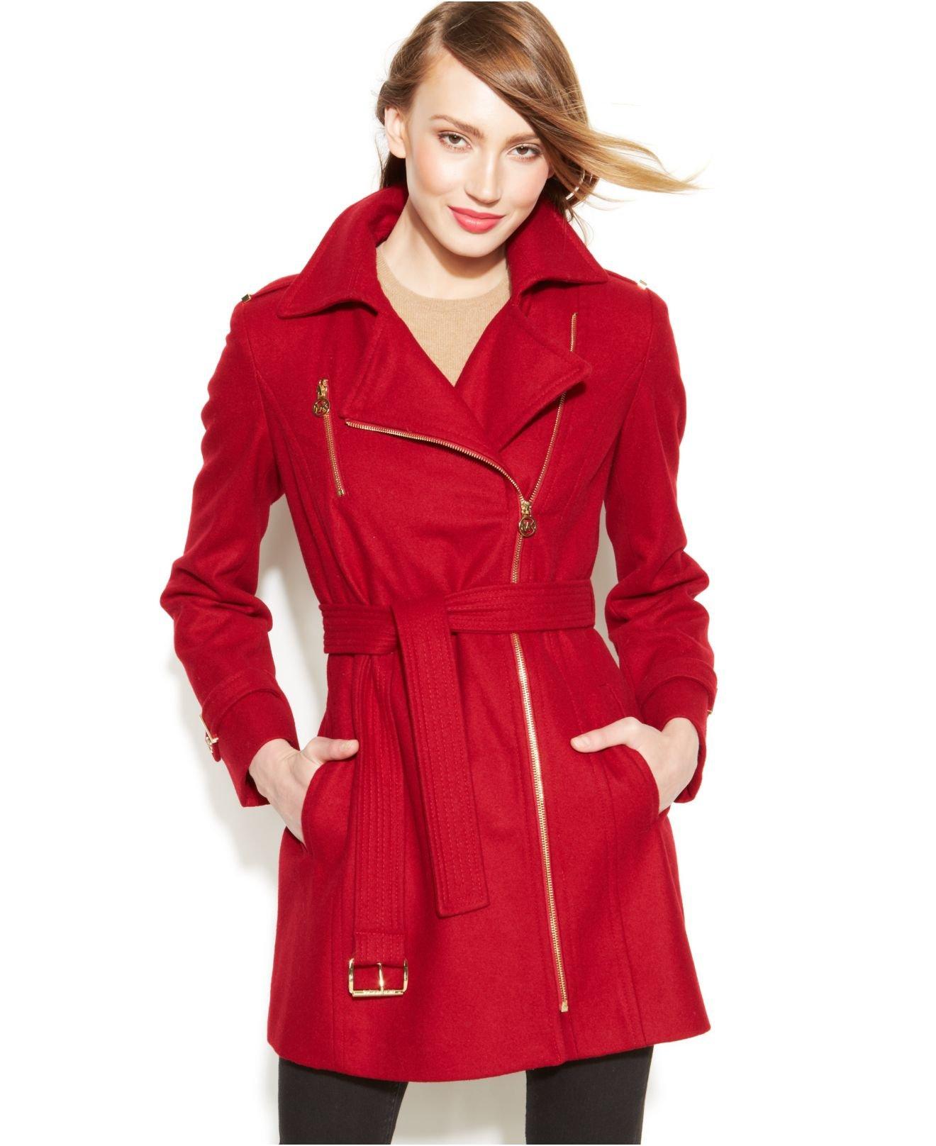 Michael kors Michael Asymmetrical Belted Walker Coat in Red   Lyst