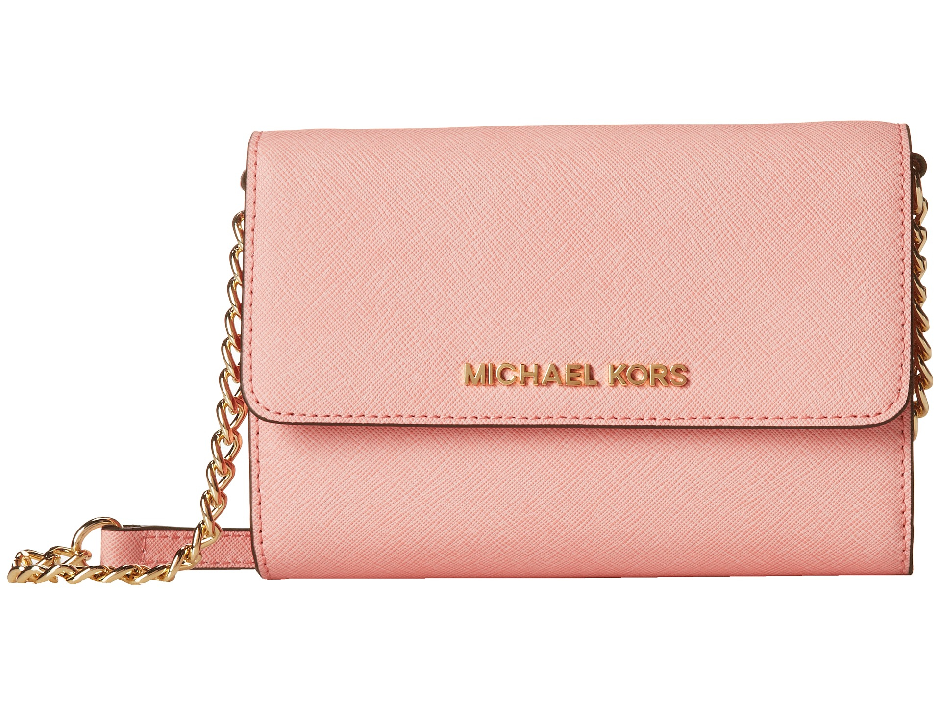 62e20d824406 ... greece lyst michael michael kors jet set travel large phone crossbody  in pink 6af60 d348f